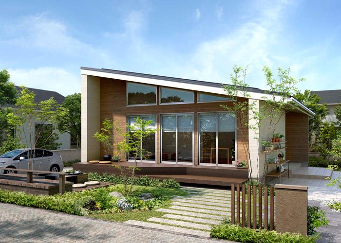 25坪の平屋の外観:リゾート風のおしゃれな外観、ちょうどいいサイズ感が郊外の暮らしに最適です
